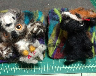 SALE!! The Owl and The Rabbit felted coaster art