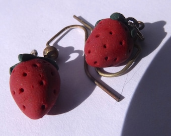 Polymer Clay Strawberry Earrings