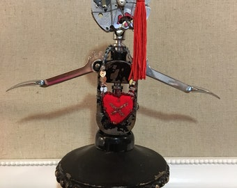 Robot Girl found object assemblage altered art doll Junkbot