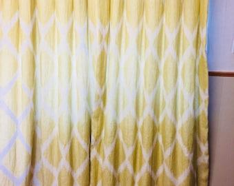 Luxury citrus green, yellow linen curtains.