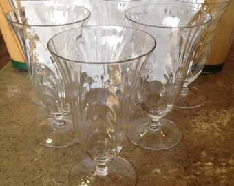 Vintage Cambridge Caprice Crystal Glass Iced Tea Footed Tumbler 6 Piece Set 300 Stem