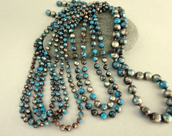 """2.4mm Copper Ball Chain, TURQUOISE TRAIL Patina, Hand Altered Copper Chain & Connectors, Bulk Chain by the Inch, 6"""" to 72 """" Boho Southwest"""