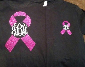 Monogrammed breast cancer awareness shirt!