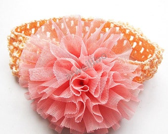 Mesh Flower Headband, Toddler Headband, Girls Headband,  Flower Headband