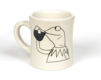 Kermit Sippin' Tea - But That's None Of My Business: Coffee Mug- Sturdy Vintage Diner Mug- Gifts for Coffee Lovers- Handmade