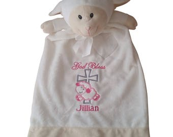 Christening Girl Gift, Stuffed Animal Blanket, Baby Blanket, Christening Blanket, Baby Gift