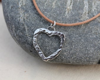 Heart Necklace Sterling silver. Reticulated silver. textured. Cut out heart design. Large Heart pendant. OOAK