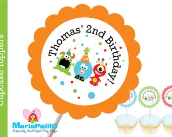 Monster Party Cupcake Toppers, 12 Personalized Cupcake Toppers , Monster Birthday A1149