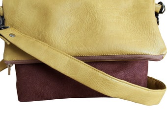 BI-material Brown and yellow mustard vegan bag