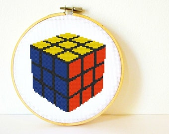 Cross stitch Pattern PDF. Instant download. Rubix Cube. Includes easy beginners instructions.