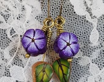 Purple Blossom and Leaf Dangle Earrings