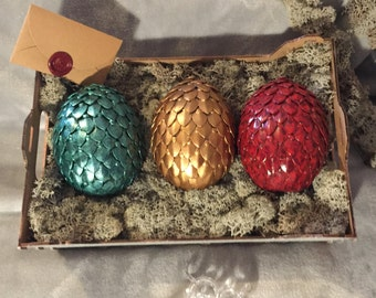 Individual Dragon Egg, Mythical Creation with Metal Scales Egg, Film & TV Inspired Props Geek Dragon Eggs, Mythical Model