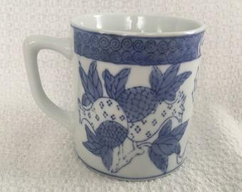 Cobalt Blue on White Floral Pineapple Mug, Blue on White Floral Mug, Asian Design Mug, Cobalt Blue Mug, Pineapple Design Mug