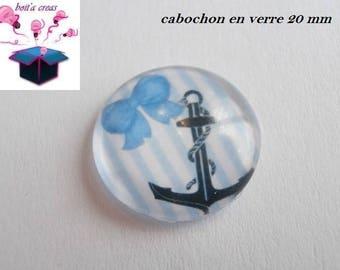 1 glass cabochon 20mm theme vacation / Beach