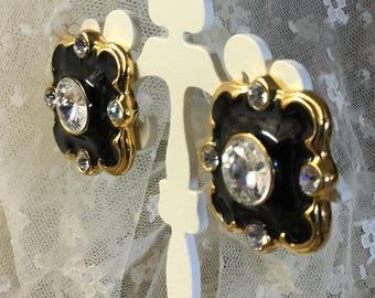 Hollywood Regency Styled Black Enamel Clear Rivoli Crystal Earrings Unsigned Clip On Gold Tone Metal 1980's 1990's Baroque Shape Sparkling