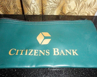 Vintage Citizens Bank A. Rifkins Co. Teal With Gold Colored Ink Money Bank Bag