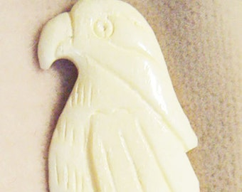 Faux Ivory Parrot Pendant-Tropical Exotic Bird