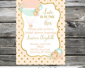 Bridal Shower Hot Air Balloon Invitation, Birthday Invite, Baby Shower Invitation, Up Up and Away,  Printed Invitation,  Gold, Mint, Peach