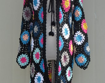 Long Granny Square Sweater Cardigan Tie Front Crochet Blouse Long Sleeve Women Boho Clothing