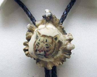 Scrimshaw Bolo Tie, Mountain Lion, On Antler, Vintage