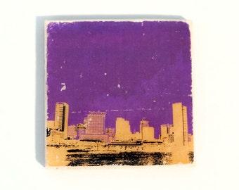 Baltimore Skyline Coaster (1 Purple with Gold & Black Stone Coaster) Cityscape Home Decor - Sports Gift