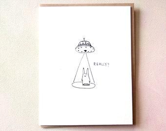 Really? UFO Flying Saucer Komopoko A2 Greeting Card