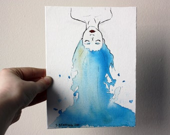 """Original Painting Artwork 6x8 Blue Haired Girl Water - """"Flow."""""""