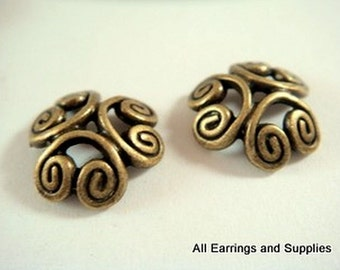 10 Bronze Bead Caps Flower Antique Tibetan Silver 12-13mm - 10 pc - F4110BC-AB10