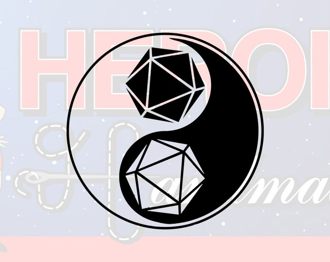 """4""""+ Dungeons and Dragons DnD D20 Yin Yang Adhesive Vinyl Decal"""