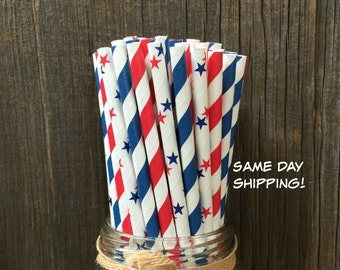 100 Red and Blue Stripe and Star Paper Straws- Patriotic, 4th of July, Cookout Supply, Free Shipping!
