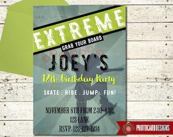 SkateBoard Birthday Invitation | SkateBoarding | Skate invitation | skateboard Birthday |  Skater Birthday | Sport | boy | Party | Digital