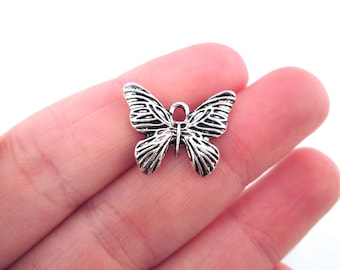 Silver Butterfly Charms Moth Pendants pick your amount, G111