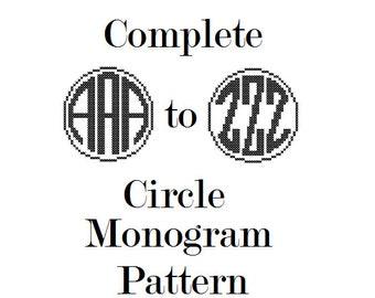 Circle Monogram cross stitch personalize Initial Alphabet Gift Home Decor Nursery Shower gift Wedding Anniversary