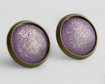 Amethyst Shimmer Post Earrings in Antique Bronze - Lavender Purple Studs with Gold Shimmery Sparkles