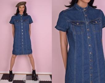90s Denim Button Down Dress/ Medium/ 1990s