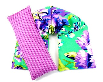 Remedy Pack: Natural Heat Packs, Neck Wrap Eye Pillow Set Hot/Cold Therapy Purple Floral,Microwaveable Heat Pad Gift Idea
