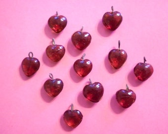 12 Vintage W. German Glass 10mm Ruby Red Heart Charms