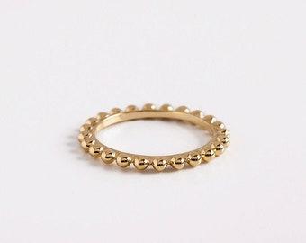 Dainty Ball Beaded Ring, 18k Gold Balls Rings, Stacking Ring,14k Yellow Gold Beaded Ring,Minimal Gold Ring Women Wedding Ring