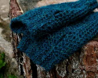 Hand knit fingerless gloves, alpaca wrist spats, knitted mitts
