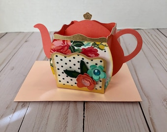 Handmade box card - Teapot