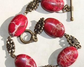 Red Bracelet Imperial Jasper Bracelet  Beaded Bracelet Vintage Style Bracelet  Brass Earthy Bracelet Gem Stone Bracelet  Christmas gift