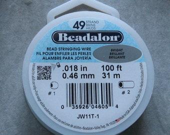 Beadalon 49 Strand Wire YOU CHOOSE .013 .015 .018 .021 .024 Beading Wire 100 Foot Spool