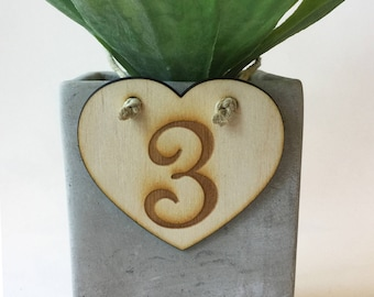 Rustic wood table numbers 1-10 Engraved hearts