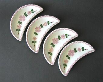 SALE - Vintage 4 Crescent Moon Half Moon Shaped Bone Dishes Floral Print