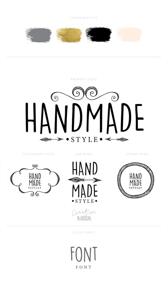 Etsy Shop Logo Set. Handmade Logos. Instant Download Logos.