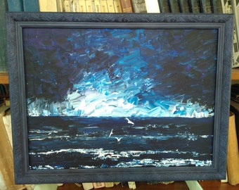 Original Acrilic Painting After the Storm Seascape