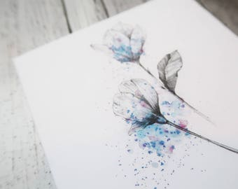 easter card, watercolor card, flower birthday card, happy anniversary, watercolour flower card, happy valentine