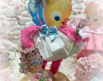 Baby Chick Easter Spring Decor Vintage Style Bump Chenille Figure Shabby Chic Pipe Cleaner Paper Doll Figurine Paperdoll Cake Topper Gift