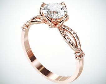 14K Rose Gold Moissanite and Diamonds Engagement Ring in Royalty style |Charles & Colvard Forever One Mossanite and Diamonds engagement ring