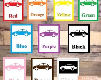 Car Color Flash Cards